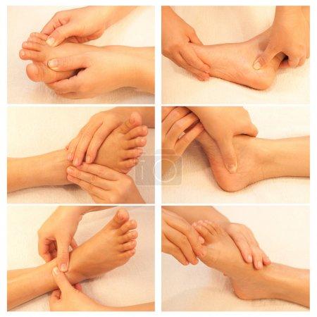 Photo pour Collection de massage réflexologie des pieds, soin des pieds spa - image libre de droit