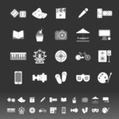 Entertainment icons on gray background