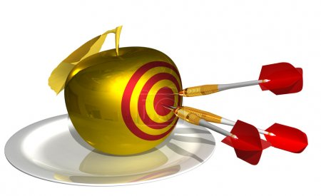 Photo for 3d render - hit the target in the golden apple isolated on white background - Royalty Free Image