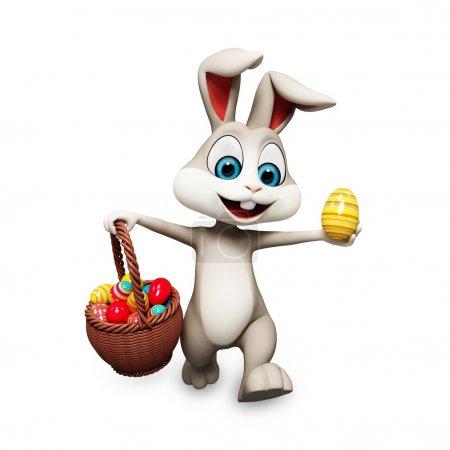 Photo pour Illustration de rendu 3D de lapin avec oeuf gros - image libre de droit