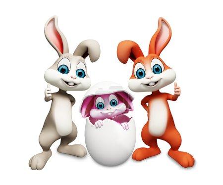 Photo pour 3D illustration art de lapin à l'intérieur de l'oeuf - image libre de droit
