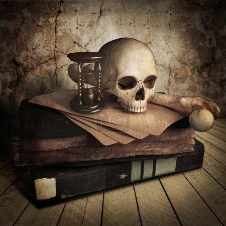 Photo pour Vue frontale du crâne antique avec livre - image libre de droit