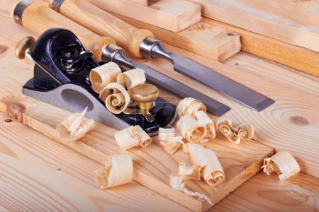 Photo for Woodworking on work bench with shavings - Royalty Free Image