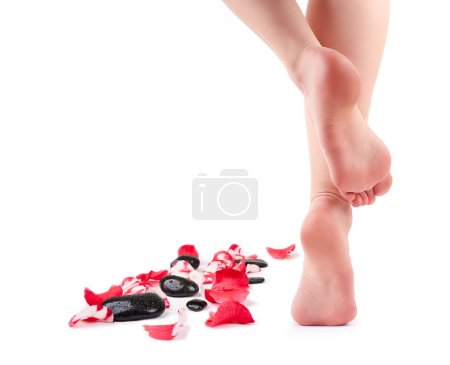 Photo for Female feet and Spa stones with rose petals isolated on white background - Royalty Free Image