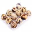 Quail eggs in a box isolated on white background...