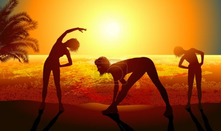 Silhouettes of a woman doing sport exercises on the beach