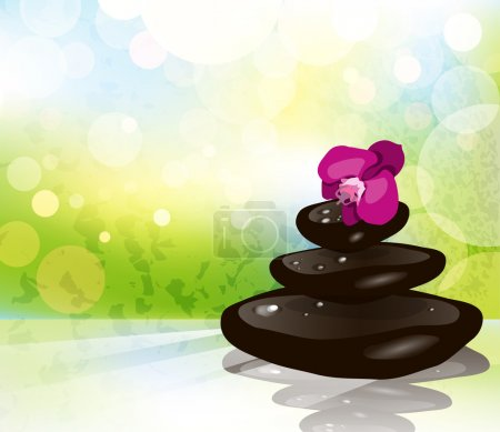 Illustration for Spa item with orchid - Royalty Free Image