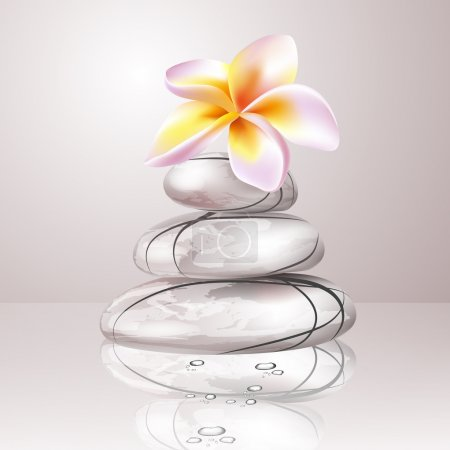 Illustration for Spa concept zen stones and frangipani flowers - Royalty Free Image