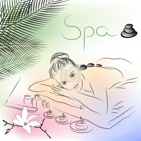 Illustration for Vector illustration of woman lying for spa massage - Royalty Free Image