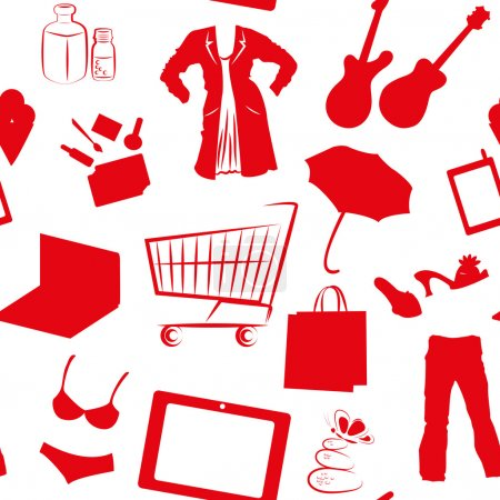 Seamless pattern with red shopping silhouettes