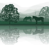 Vector illustration of horses on a Meadow with Trees and lake