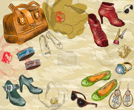 Fashion background with woman accessories and flowers
