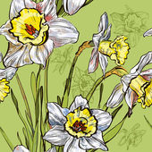 Vector illustration of Seamless background with narcissus flower