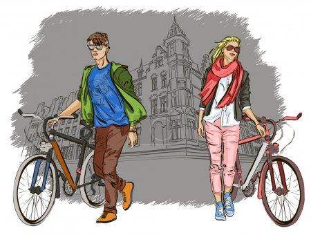 Young couple with bicycles on city background