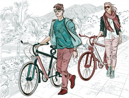 Couple walking on embankment with bicycles