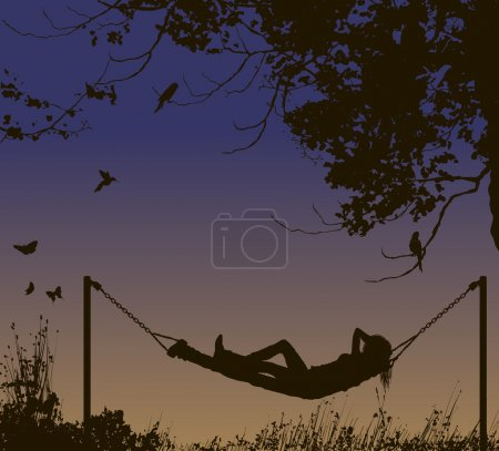 Relaxing woman lying in hammock under trees.