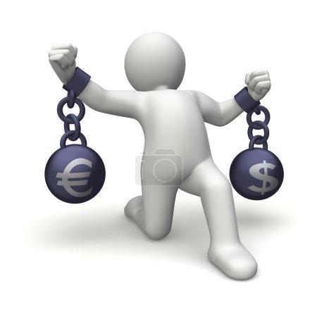 Photo pour Personnage 3d tenue métal boules avec le symbole du dollar et l'euro - image libre de droit