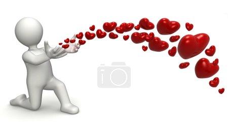 Photo pour Coeurs libératrice de personnage 3d avec ses mains - image libre de droit