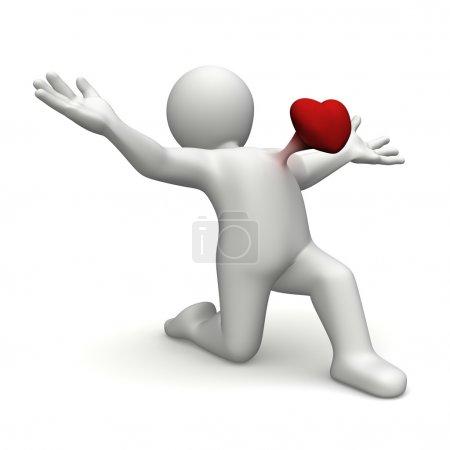 Photo pour Personnage 3d render et rouge cœur dans la poitrine - image libre de droit