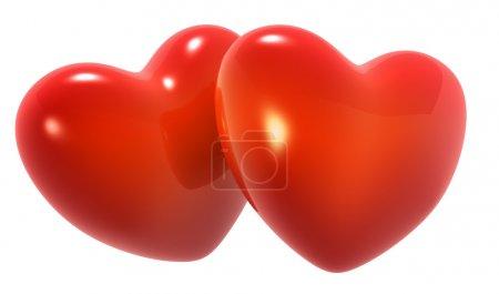 Photo pour Rendu 3D deux coeurs rouges sur fond blanc - image libre de droit