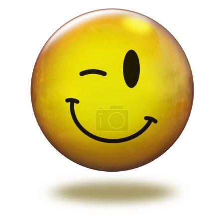 Photo pour Emoticon jaune en fond blanc généré en 3D - image libre de droit