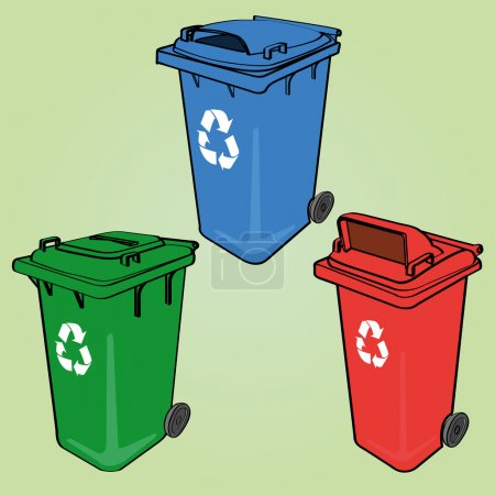 Illustration for The collection of different color recycle bins - Royalty Free Image
