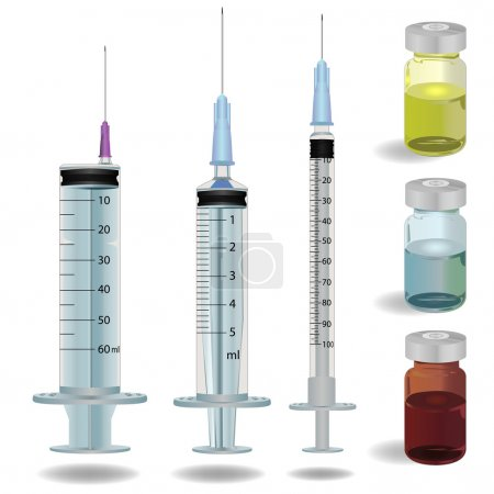 syringe and medicine vials vector illustration.