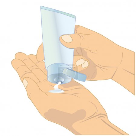 Illustration for Hands holding cosmetic cream tube isolate on white - Royalty Free Image