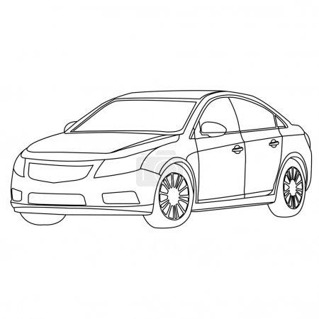 Illustration pour L'isolat du vecteur de contour de la voiture sur blanc - image libre de droit