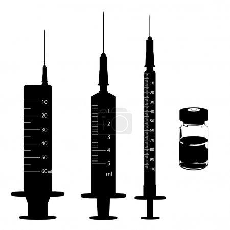 Illustration pour Seringue jetable et flacons de médicament avec réflexion sur fond jaune - image libre de droit