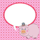 Cute pig with speech bubble vector