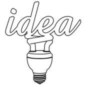 Light bulb idea vector isolate on green