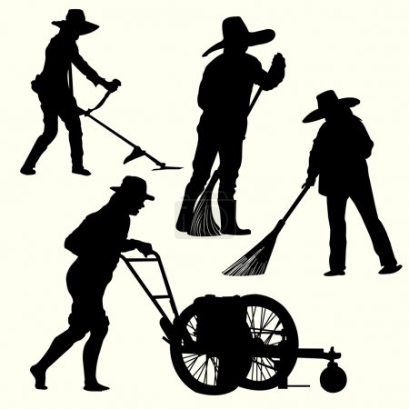 Silhouette of people gardening