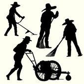 Silhouette of people gardening