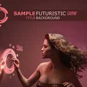 Beautiful girl with streaming hair touching virtual interface on futuristic techno background
