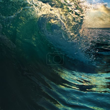 Surfing tropical design template. breaking curled ocean wave
