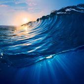 Big surfing scean breaking wave in sunlight