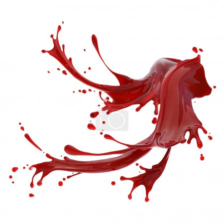 Photo for Splashes of red liquid isolated on white background design template - Royalty Free Image