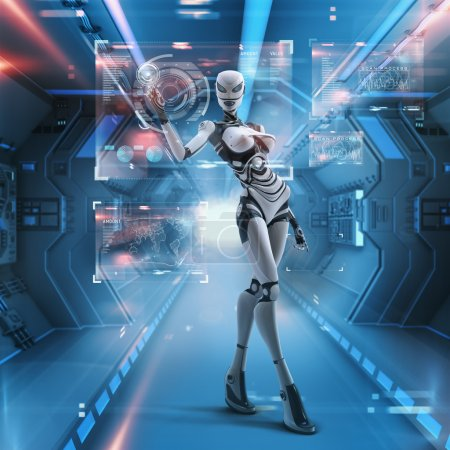 Futuristic female android