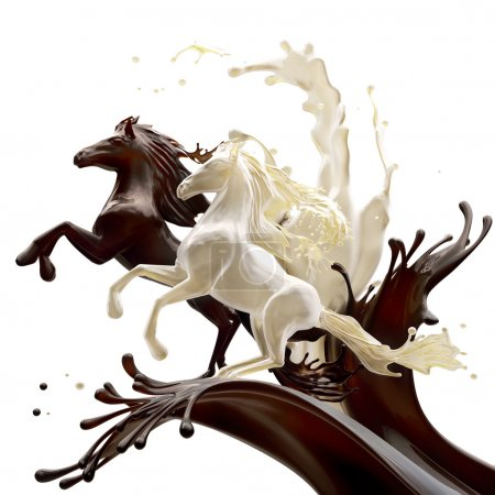 Coffee and milk liquid horses