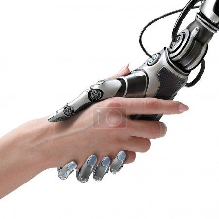 Photo pour Concept de conception de la cybercommunication. Robot femelle et humain tenant la main avec poignée de main . - image libre de droit