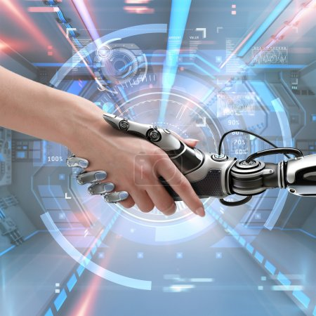Photo for Cyber communication design concept. Female robot and human holding hands with handshake. - Royalty Free Image