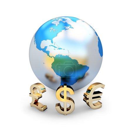 Photo pour 3D mat brillant globe terrestre, avec des signes d'or de devises devant lui, y compris le dollar, l'euro et la livre sterling - image libre de droit