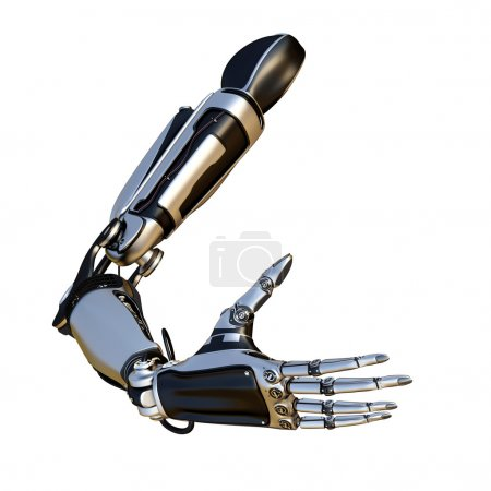 Photo for Cybernetic scene isolated on white background. Sci-fi robot arm, made of compound metallic as a part of a mechanism - Royalty Free Image