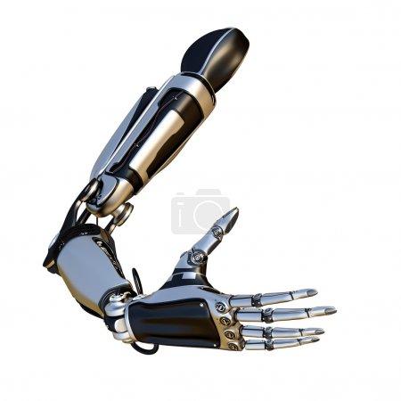 Photo pour Scène cybernétique isolé sur fond blanc. bras de robot science fiction, faite de composés métalliques dans le cadre d'un mécanisme - image libre de droit