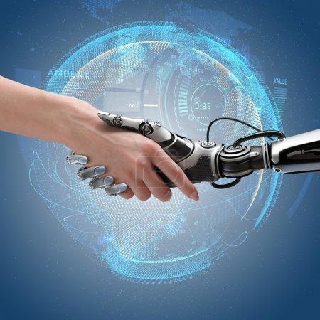 Photo pour Robot et poignée de main humaine. Concept de conception de la cybercommunication . - image libre de droit