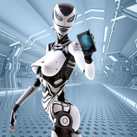 Female android holding iphone
