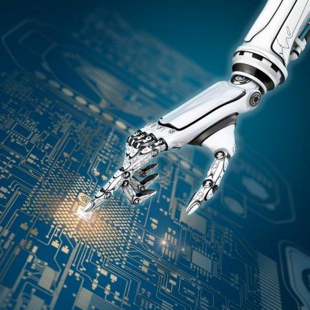 Photo pour Abstrait futuriste avec main de robot science fiction en collaboration avec platine interface virtuelle - image libre de droit