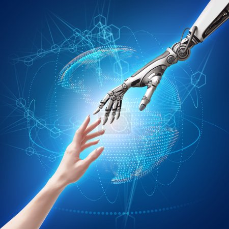 Photo for Female human and robot's hands as a symbol of connection between people and artificial intelligence technology - Royalty Free Image
