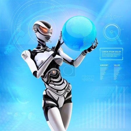 Photo pour Futuriste femme android gérer globe terrestre virtuel sur fond bleu avec des éléments infographiques - image libre de droit